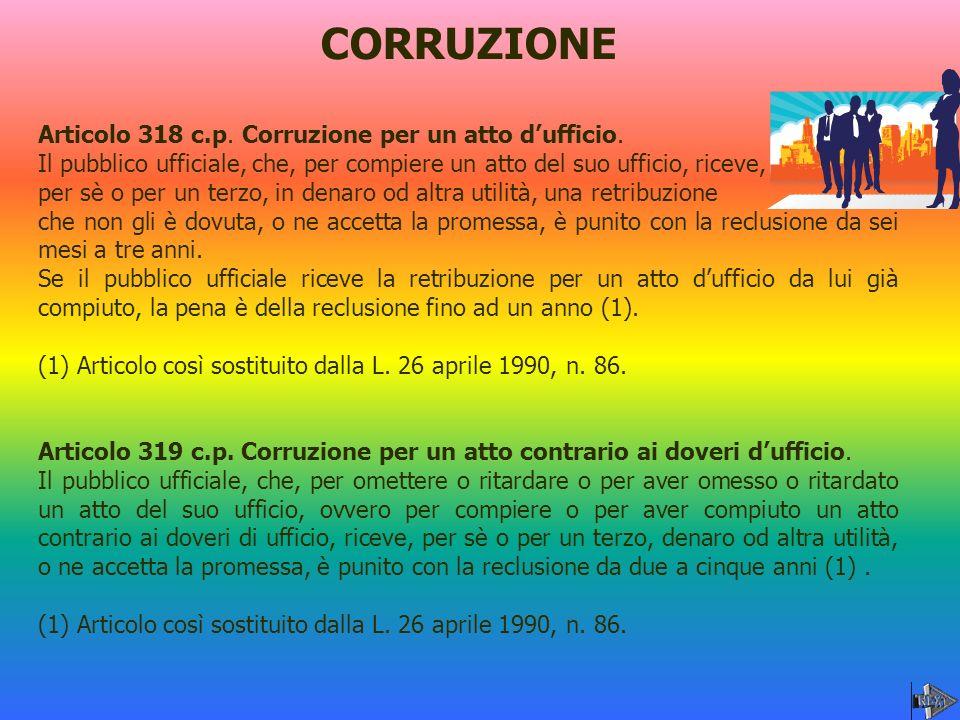 CORRUZIONE Articolo 318 c.p. Corruzione per un atto d'ufficio.