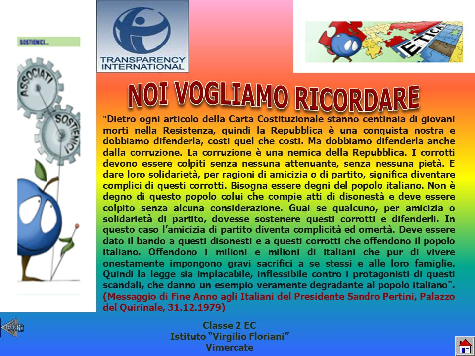 NOI VOGLIAMO RICORDARE Istituto Virgilio Floriani