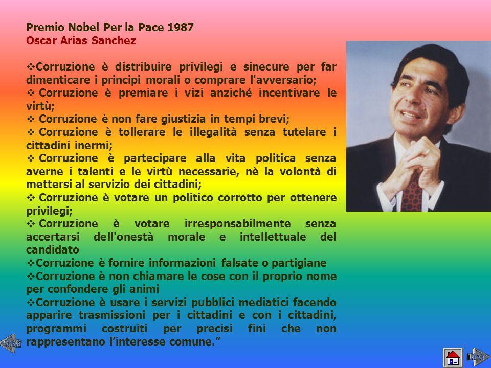 Premio Nobel Per la Pace 1987