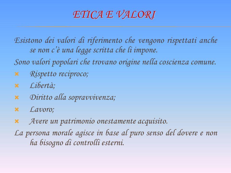 Etica e Valori Esistono dei valori di riferimento che vengono rispettati anche se non c'è una legge scritta che li impone.