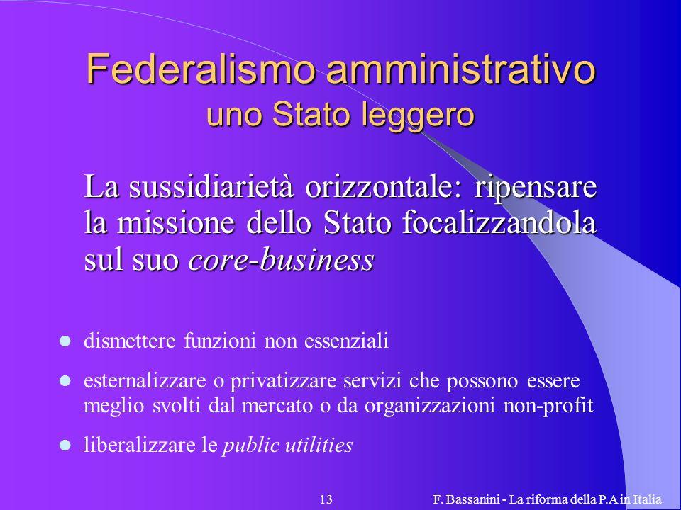 Federalismo amministrativo uno Stato leggero