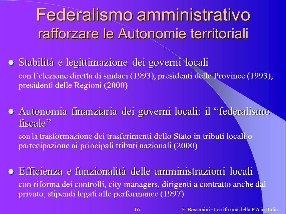 Federalismo amministrativo rafforzare le Autonomie territoriali