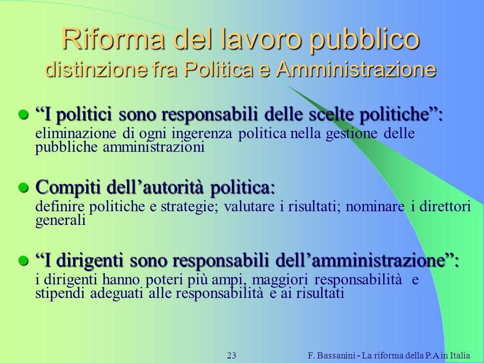 Riforma del lavoro pubblico distinzione fra Politica e Amministrazione