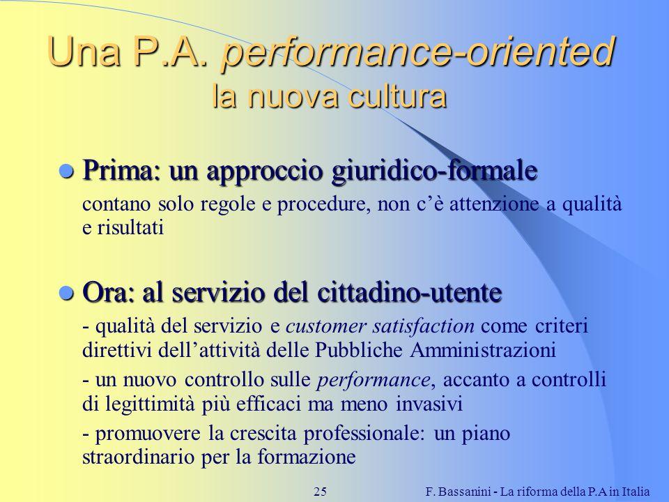 Una P.A. performance-oriented la nuova cultura