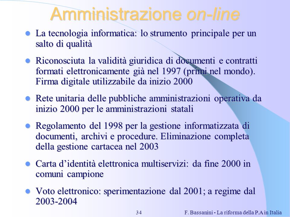 Amministrazione on-line