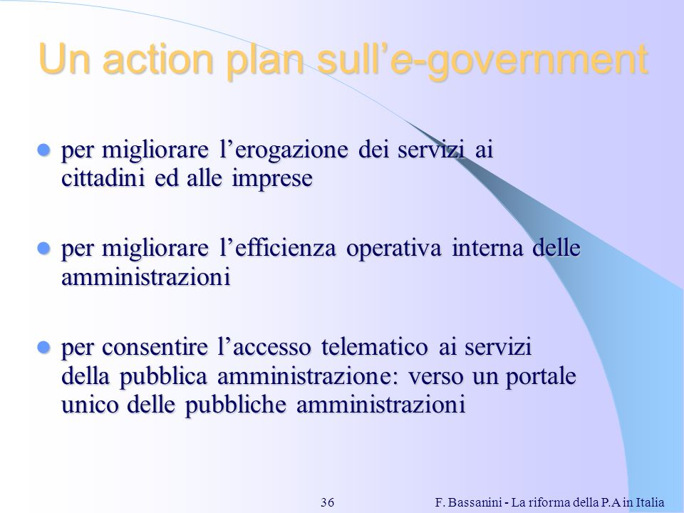 Un action plan sull'e-government