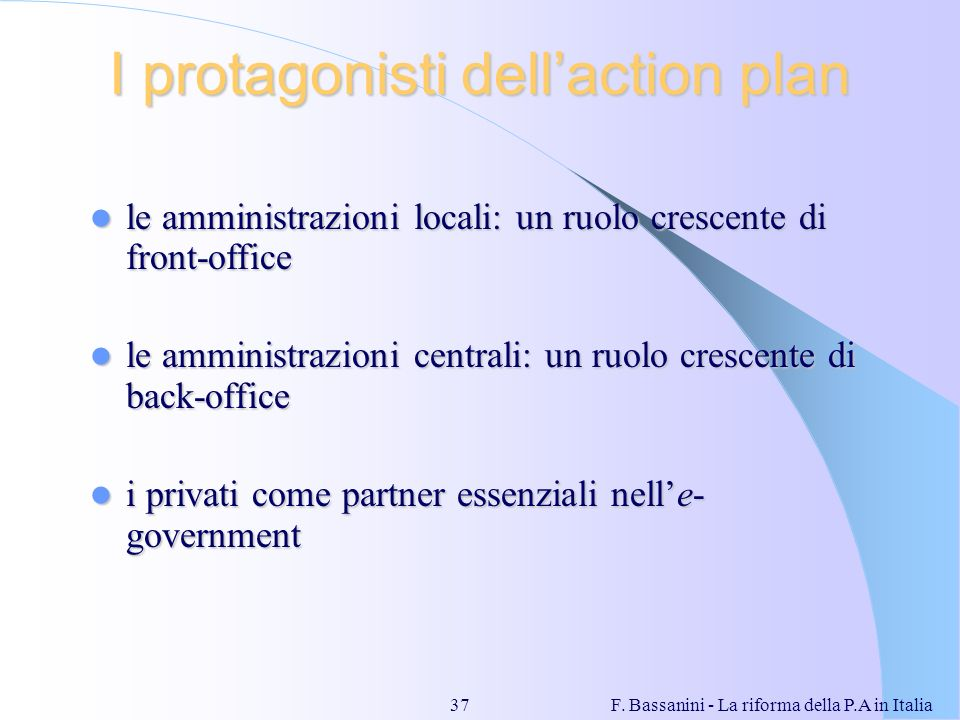I protagonisti dell'action plan
