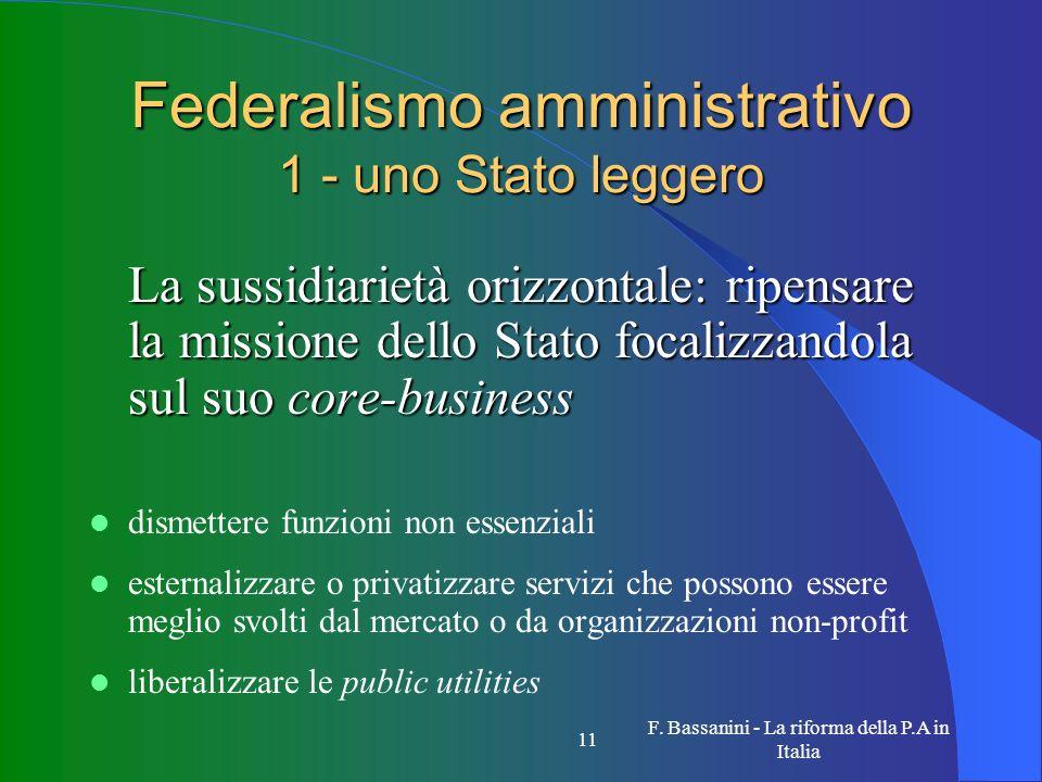 Federalismo amministrativo 1 - uno Stato leggero