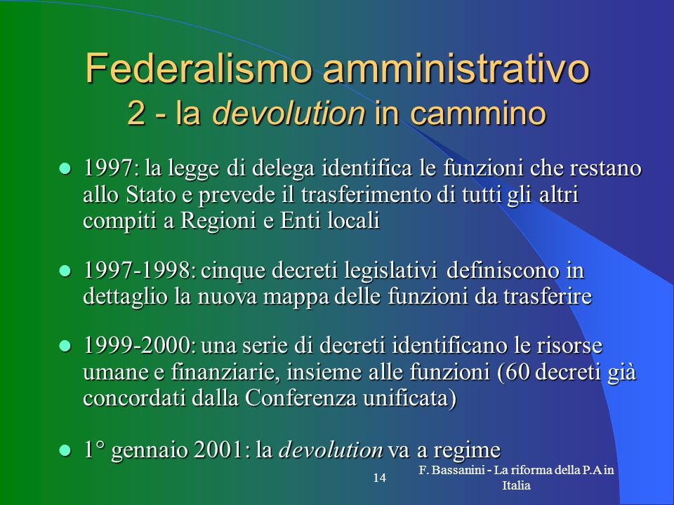 Federalismo amministrativo 2 - la devolution in cammino