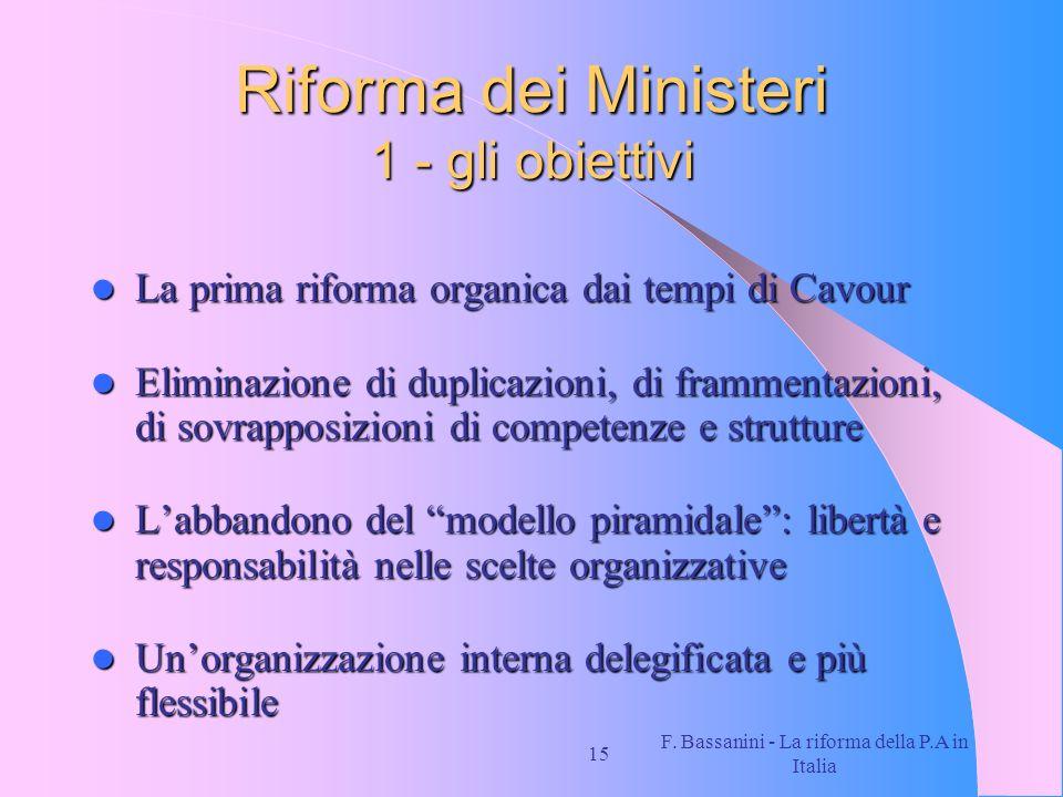 Riforma dei Ministeri 1 - gli obiettivi