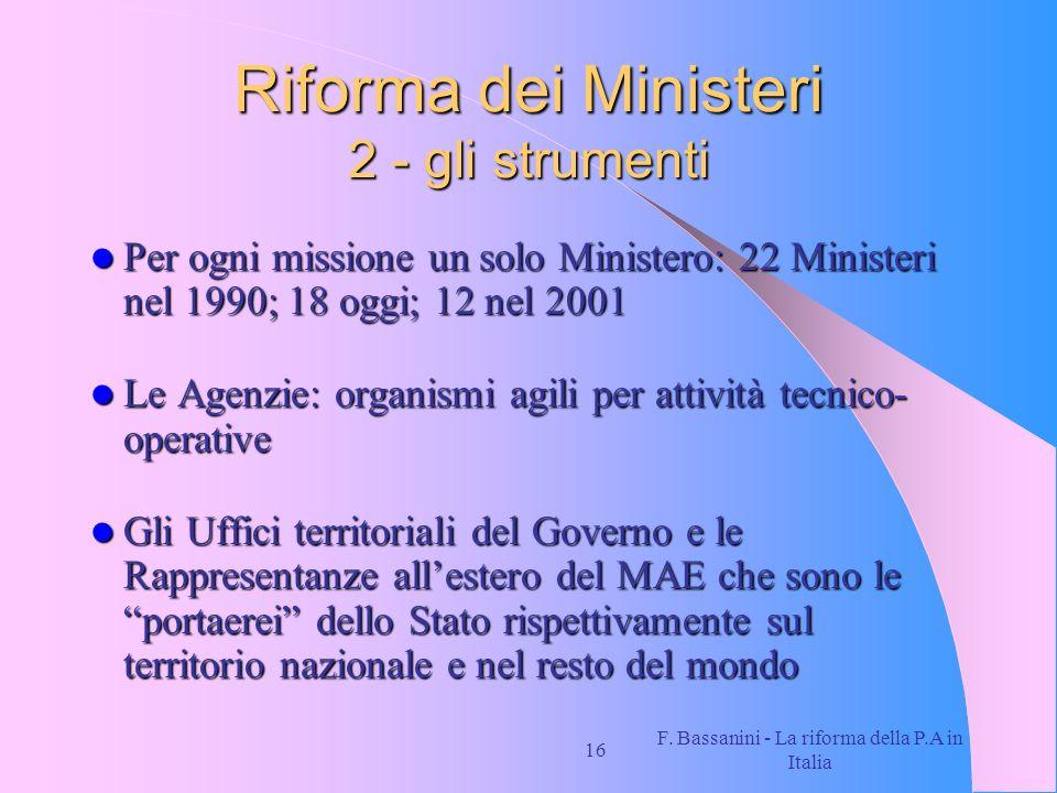 Riforma dei Ministeri 2 - gli strumenti