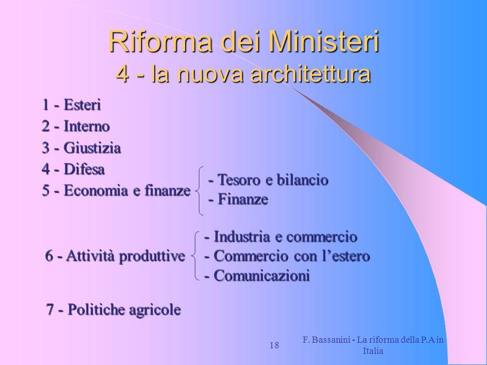 Riforma dei Ministeri 4 - la nuova architettura