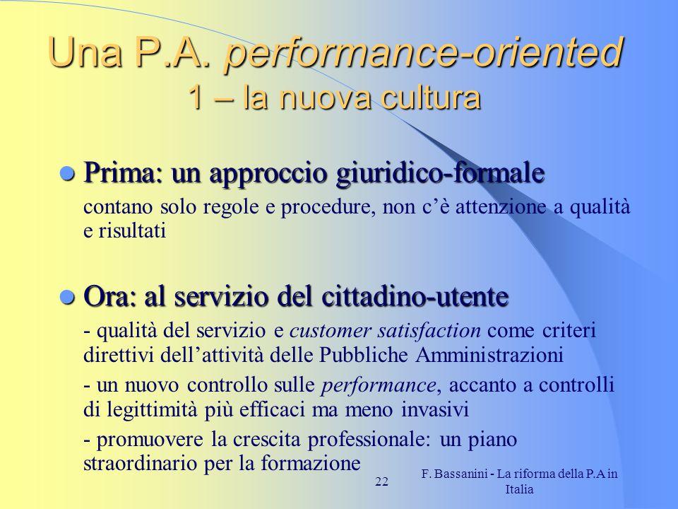 Una P.A. performance-oriented 1 – la nuova cultura