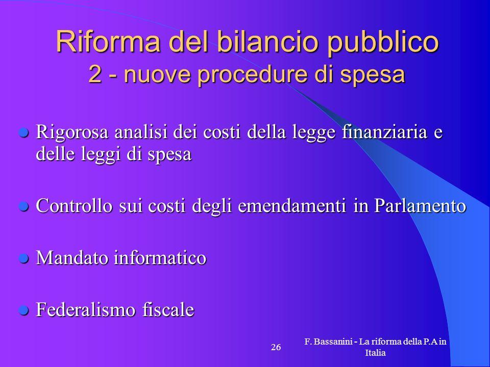 Riforma del bilancio pubblico 2 - nuove procedure di spesa