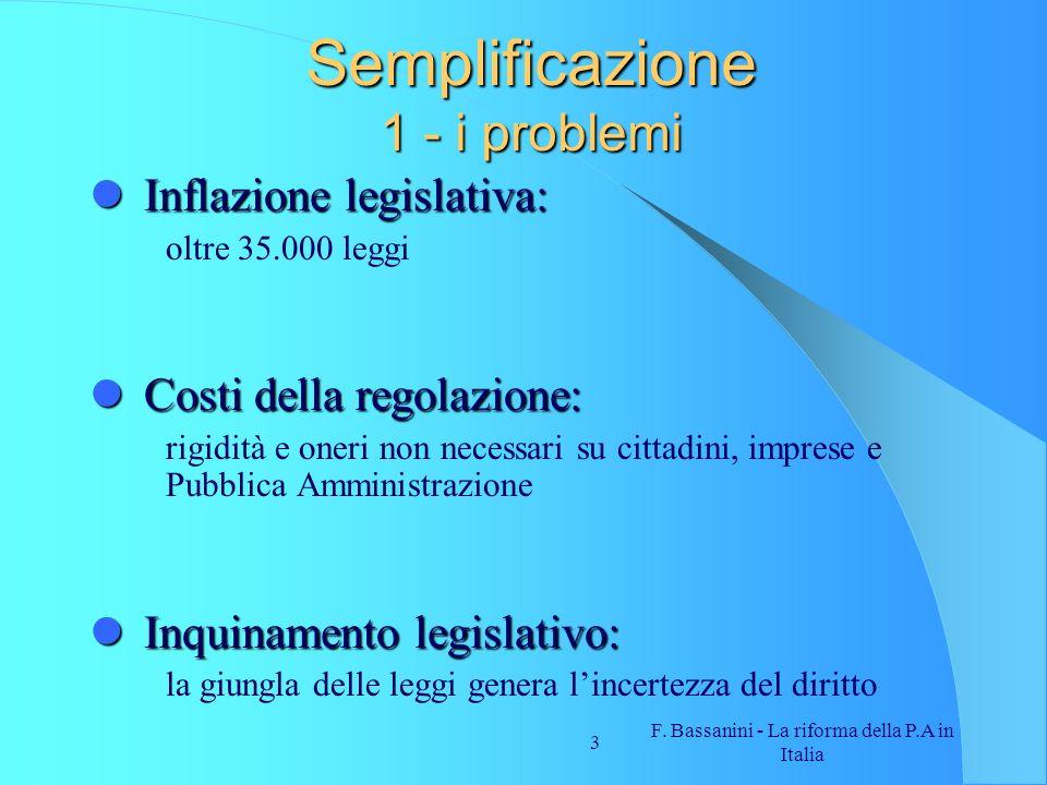 Semplificazione 1 - i problemi