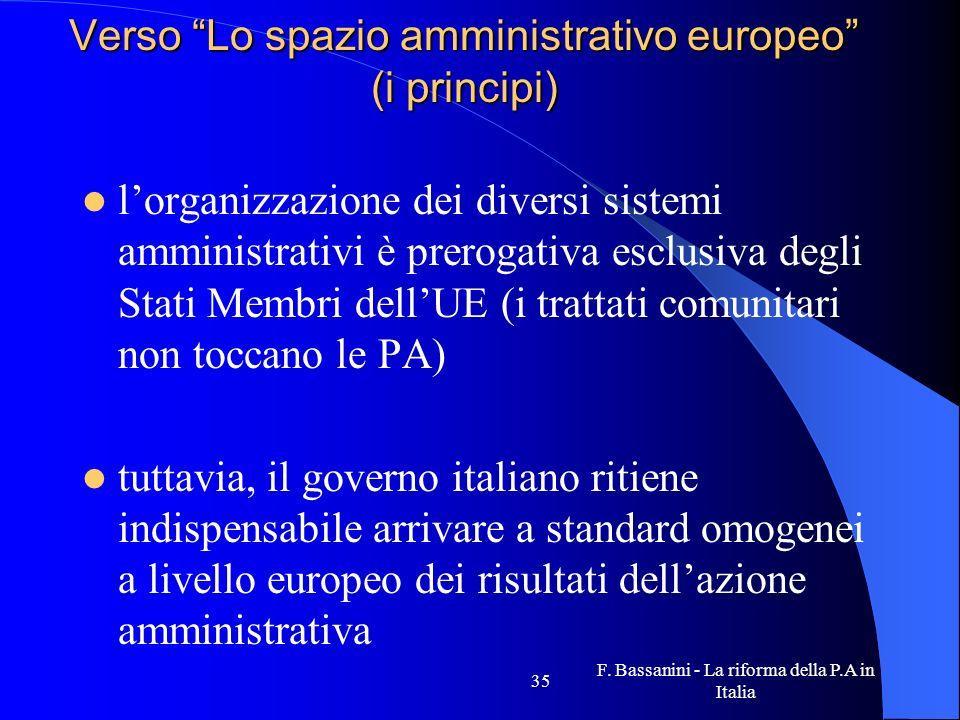 Verso Lo spazio amministrativo europeo (i principi)