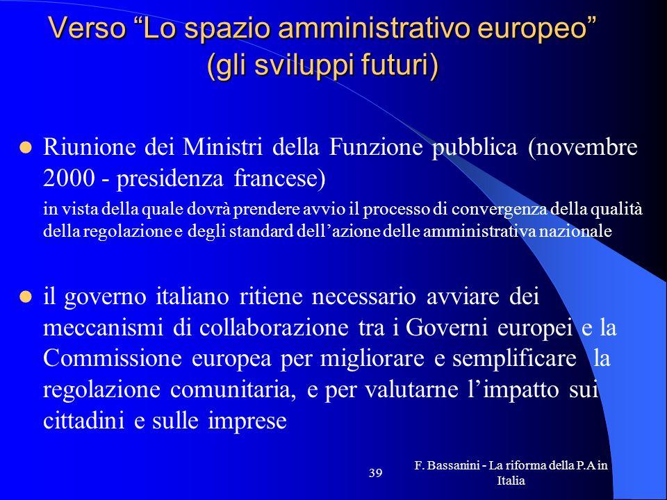 Verso Lo spazio amministrativo europeo (gli sviluppi futuri)