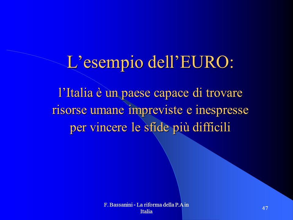 L'esempio dell'EURO: l'Italia è un paese capace di trovare