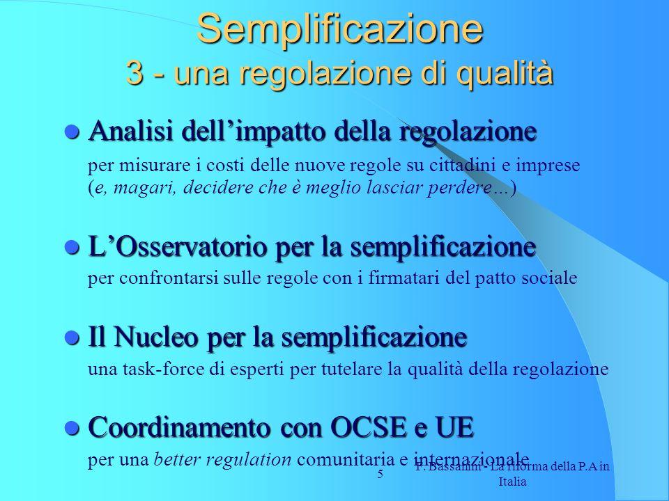 Semplificazione 3 - una regolazione di qualità