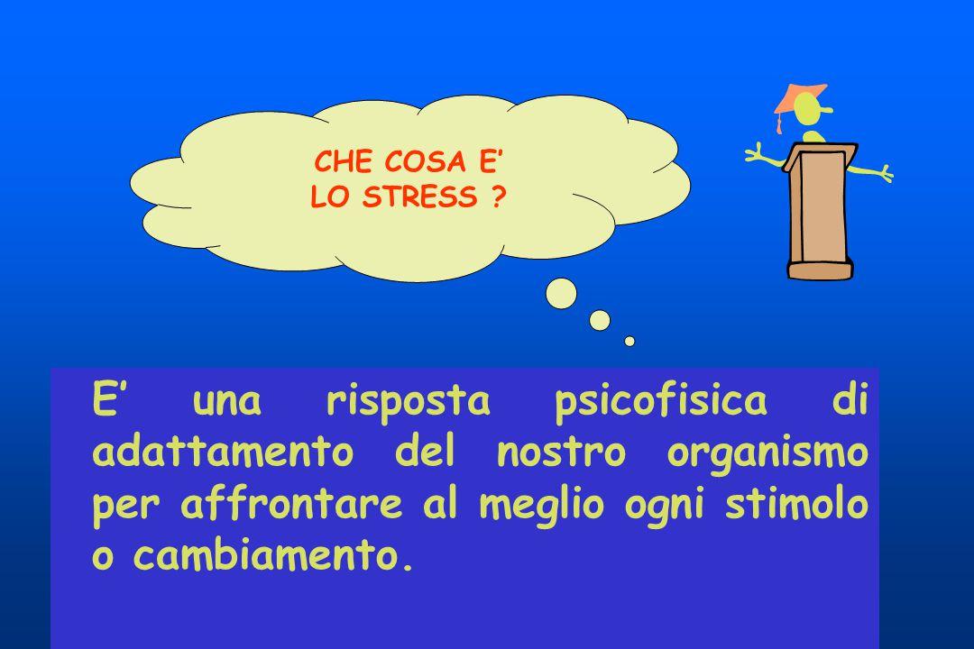 CHE COSA E' LO STRESS E' una risposta psicofisica di adattamento del nostro organismo per affrontare al meglio ogni stimolo o cambiamento.