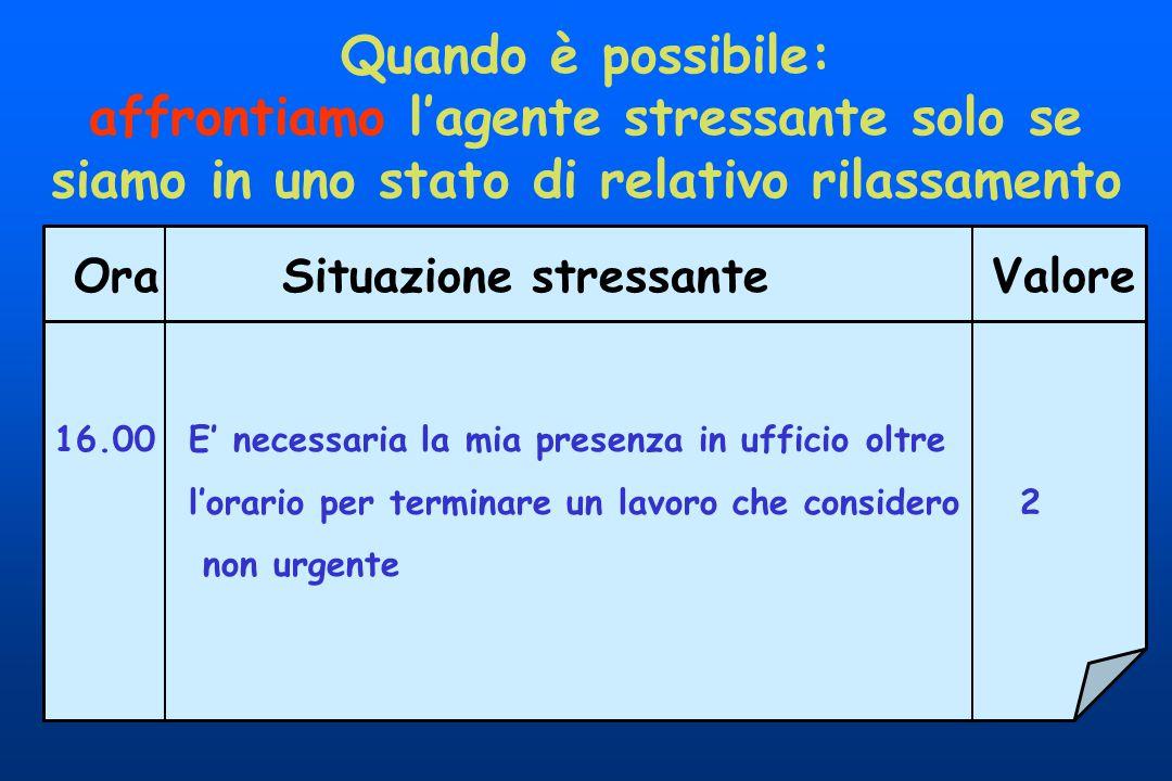 Quando è possibile: affrontiamo l'agente stressante solo se siamo in uno stato di relativo rilassamento.