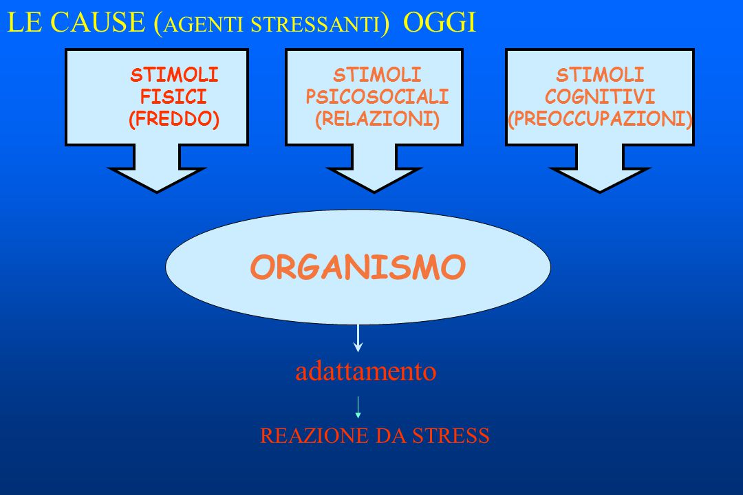 ORGANISMO LE CAUSE (AGENTI STRESSANTI) OGGI adattamento