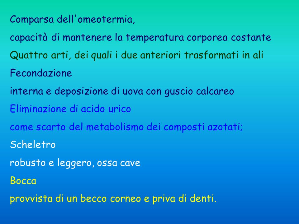Comparsa dell omeotermia,