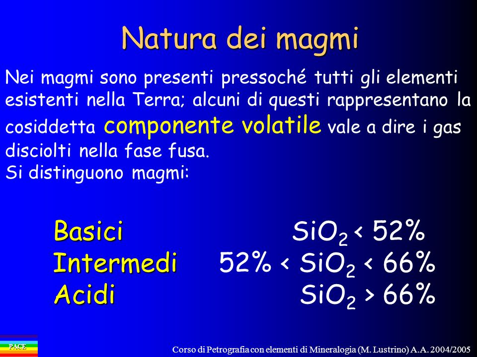 Natura dei magmi