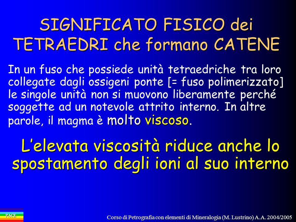 SIGNIFICATO FISICO dei TETRAEDRI che formano CATENE