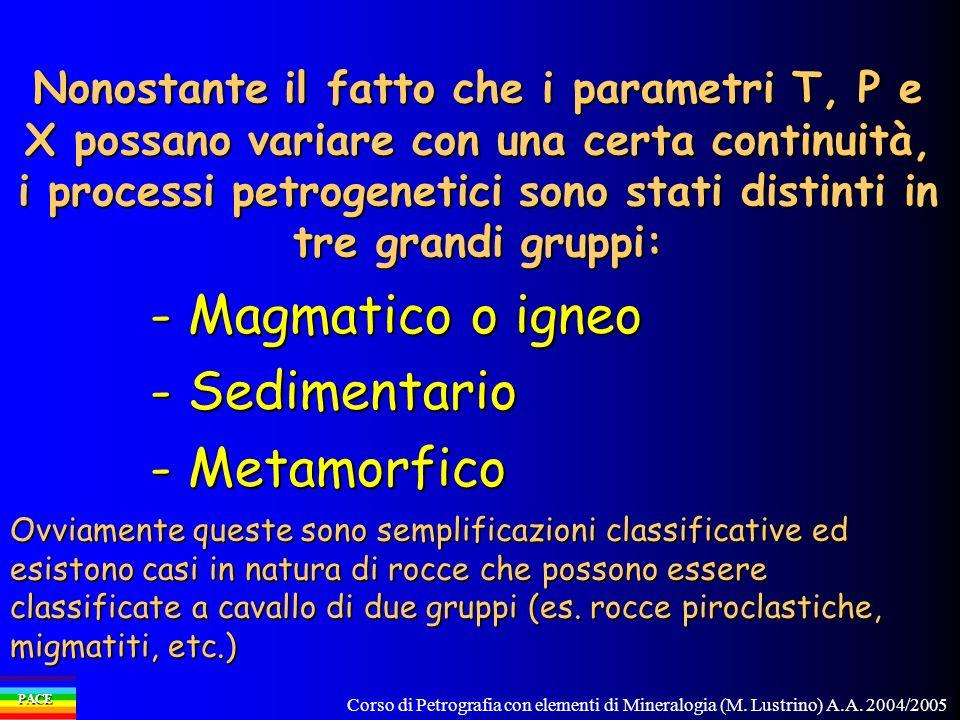 - Magmatico o igneo - Sedimentario - Metamorfico