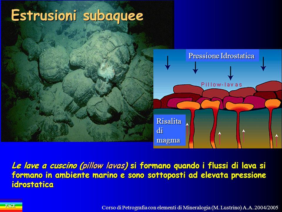 Estrusioni subaquee Pressione Idrostatica Risalita di magma