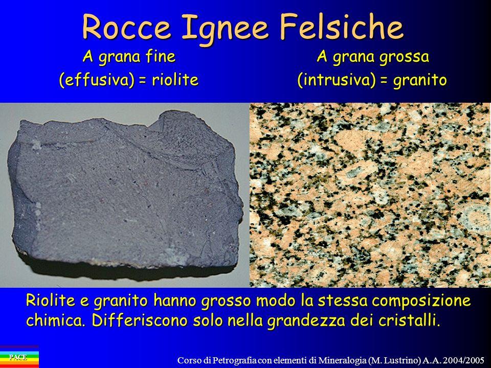 Rocce Ignee Felsiche A grana fine (effusiva) = riolite