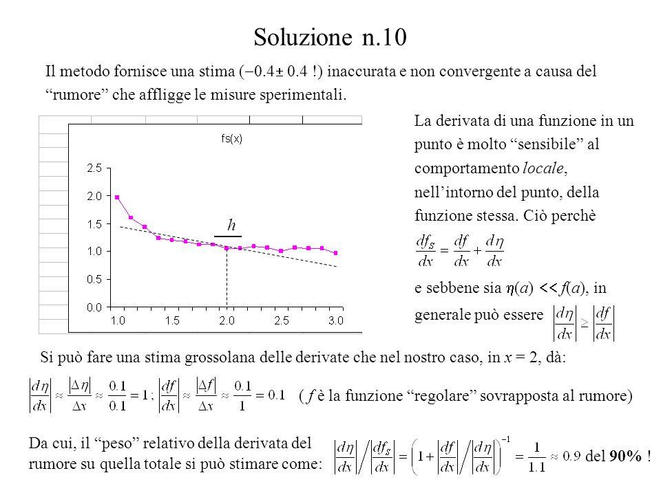 Soluzione n.10 Il metodo fornisce una stima (0.4 0.4 !) inaccurata e non convergente a causa del rumore che affligge le misure sperimentali.