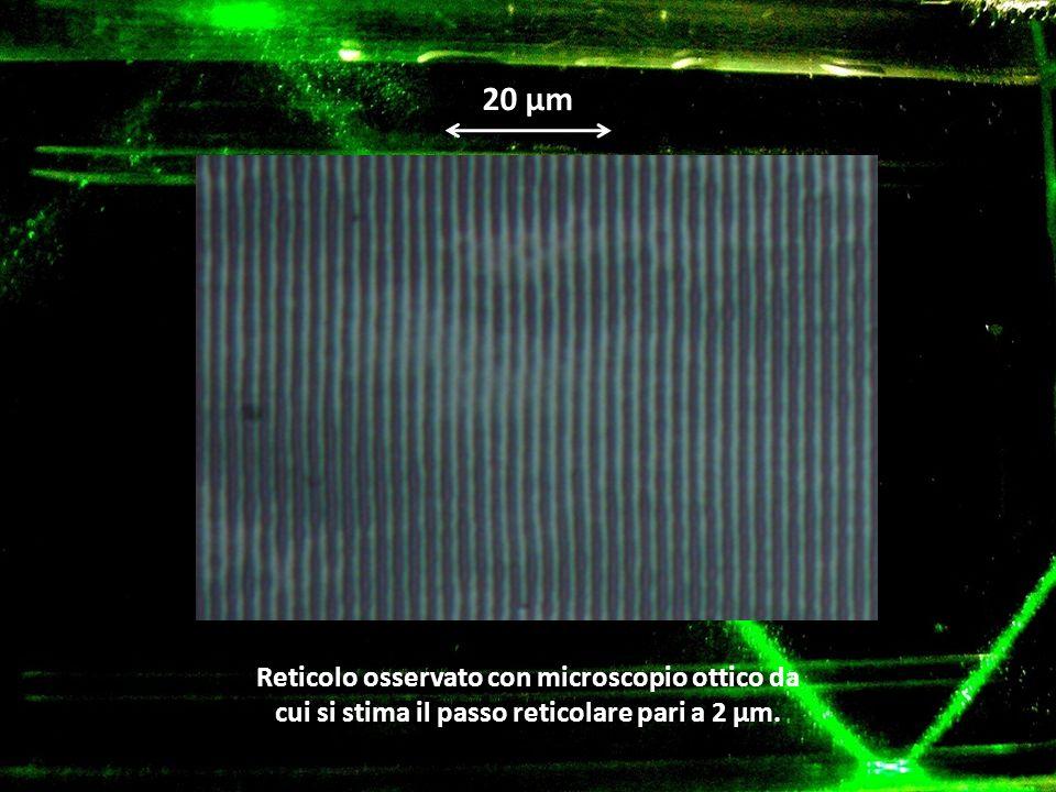 20 μm Reticolo osservato con microscopio ottico da cui si stima il passo reticolare pari a 2 μm.