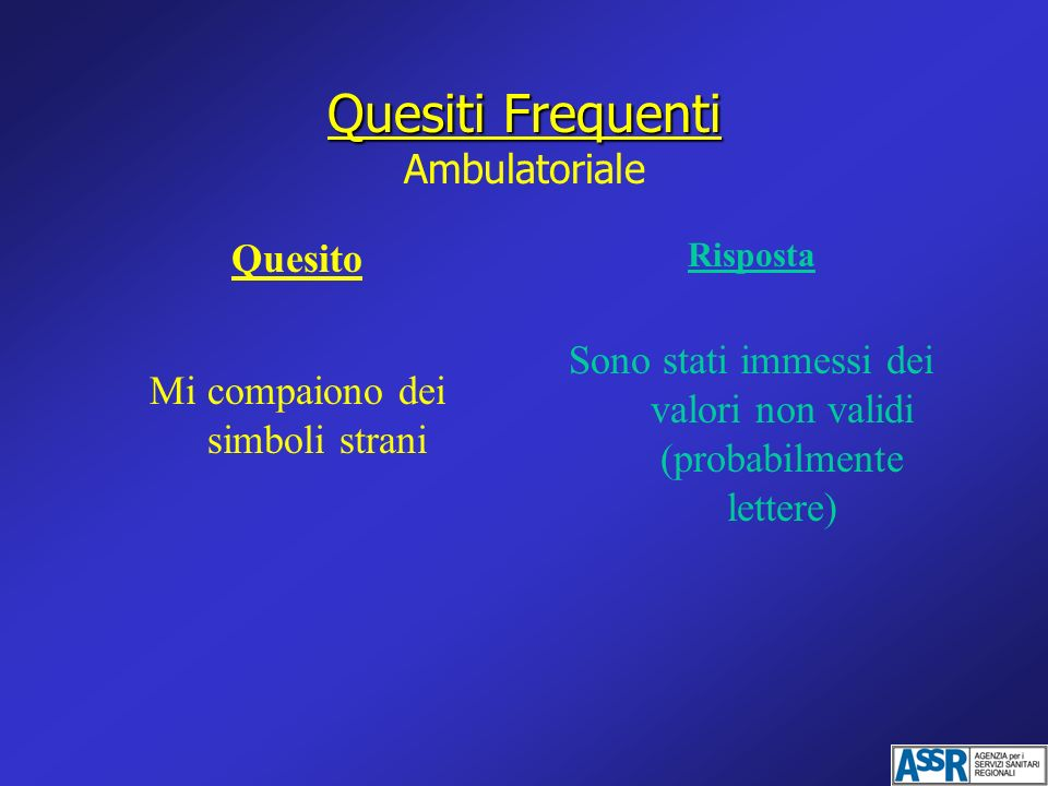 Quesiti Frequenti Ambulatoriale