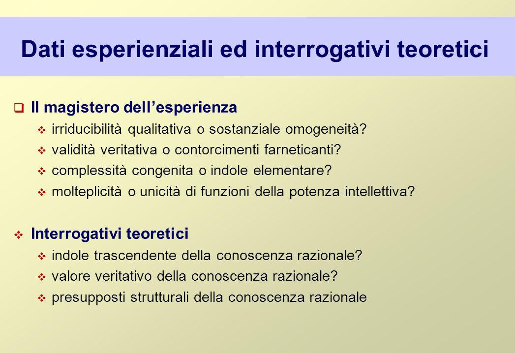 Dati esperienziali ed interrogativi teoretici