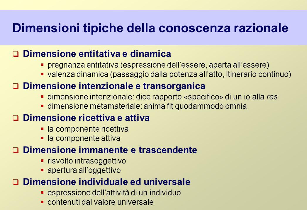 Dimensioni tipiche della conoscenza razionale
