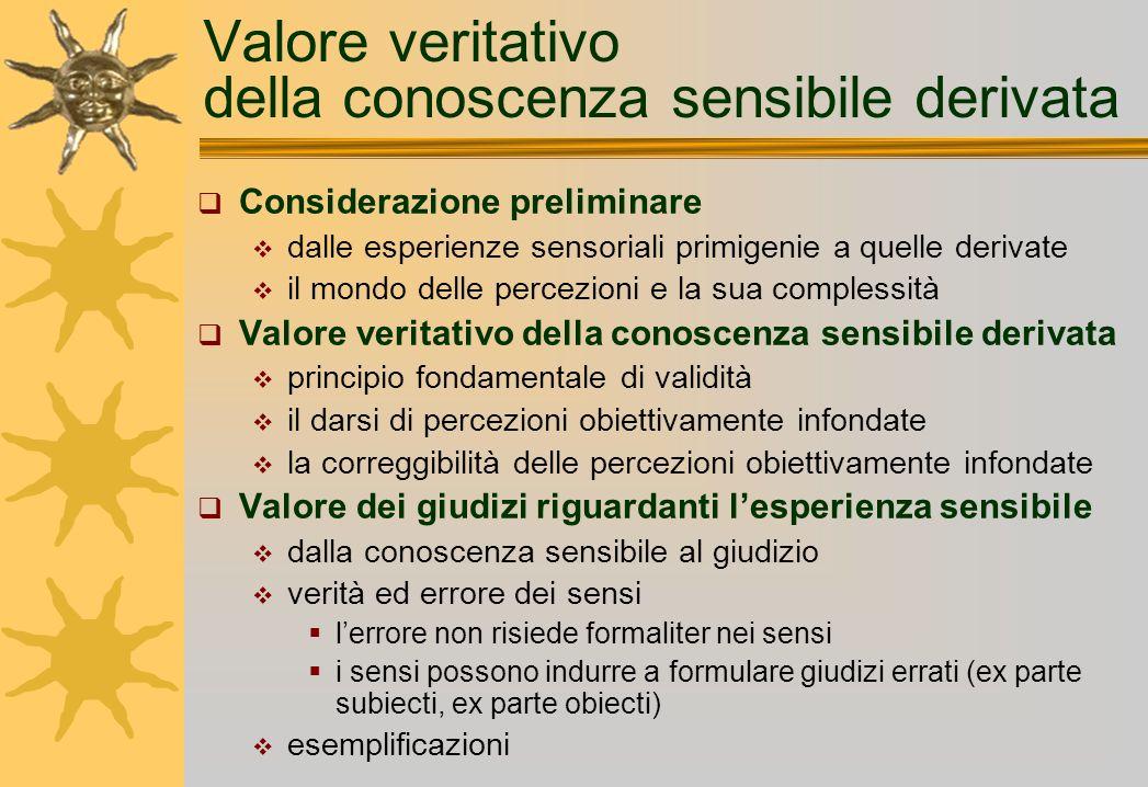 Valore veritativo della conoscenza sensibile derivata