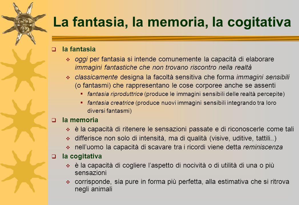 La fantasia, la memoria, la cogitativa