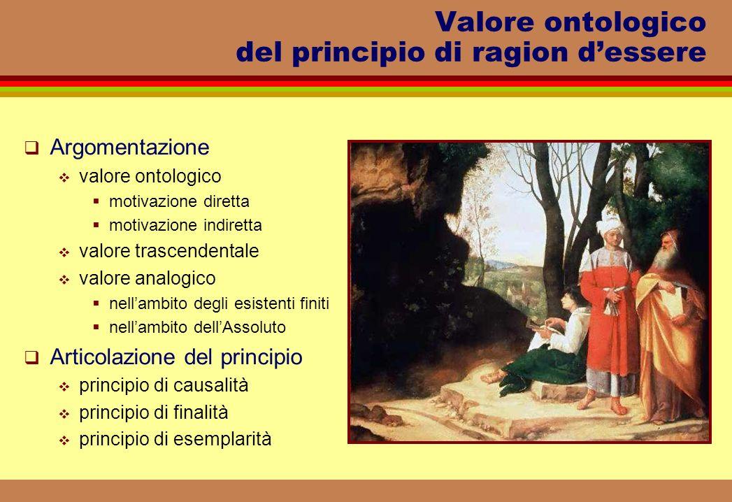 Valore ontologico del principio di ragion d'essere