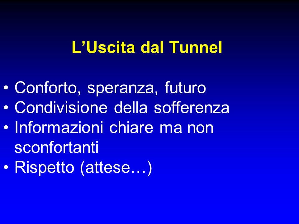 L'Uscita dal Tunnel Conforto, speranza, futuro. Condivisione della sofferenza. Informazioni chiare ma non sconfortanti.