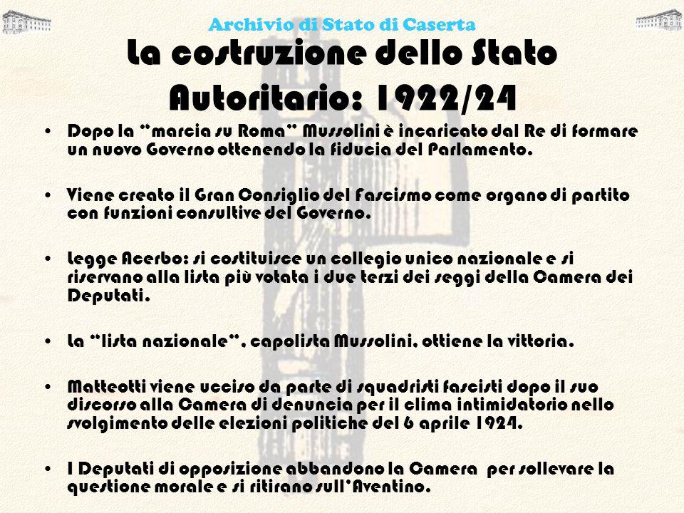 La costruzione dello Stato Autoritario: 1922/24