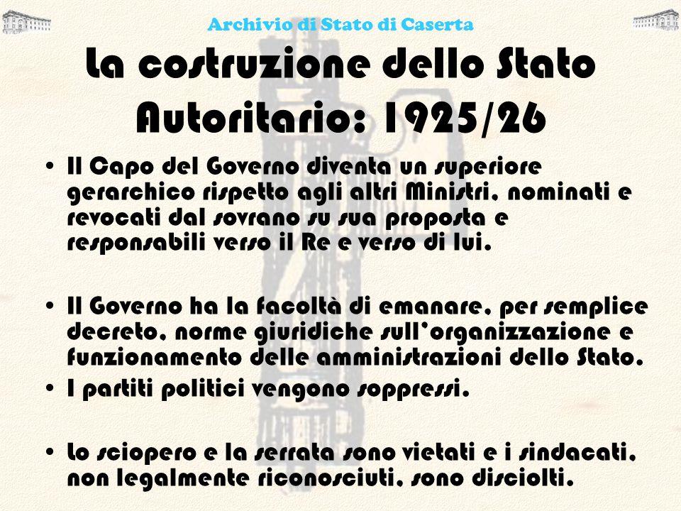 La costruzione dello Stato Autoritario: 1925/26