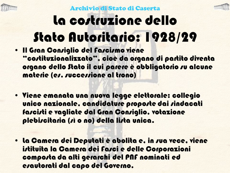 La costruzione dello Stato Autoritario: 1928/29