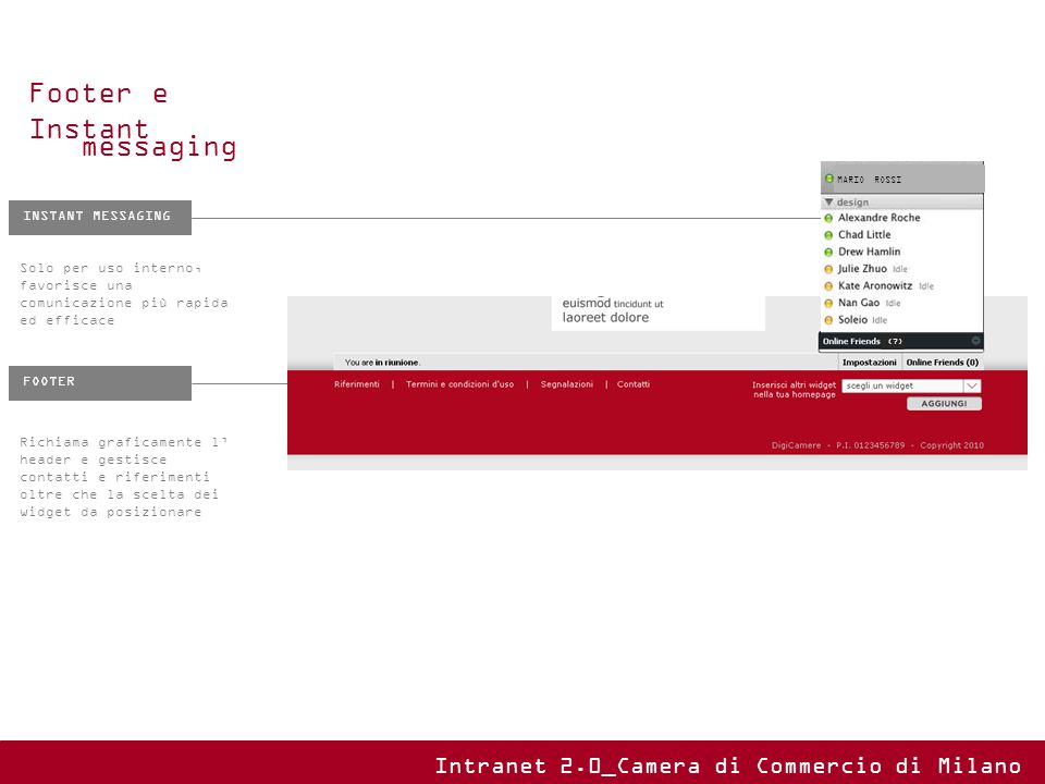 Footer e Instant messaging Intranet 2.0_Camera di Commercio di Milano