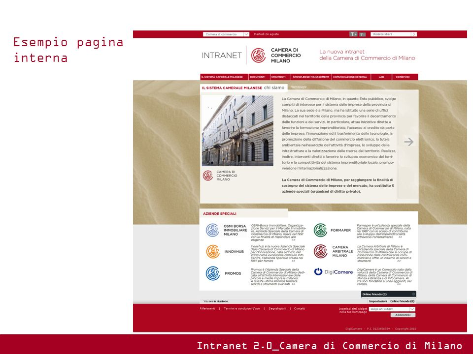 Esempio pagina interna Intranet 2.0_Camera di Commercio di Milano