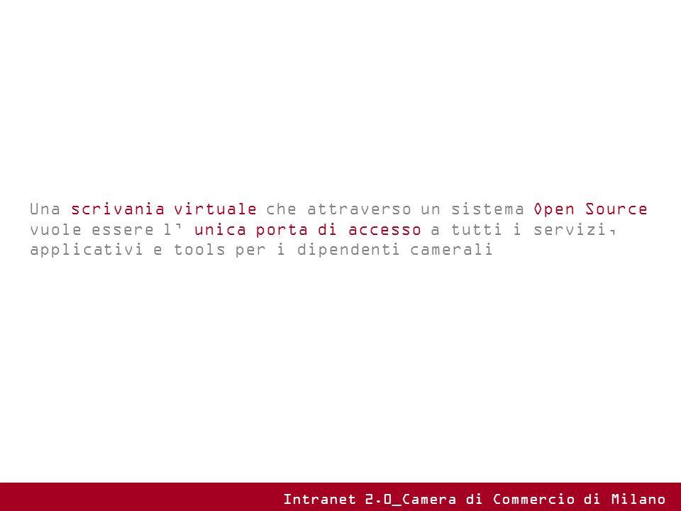 Una scrivania virtuale che attraverso un sistema Open Source vuole essere l' unica porta di accesso a tutti i servizi, applicativi e tools per i dipendenti camerali