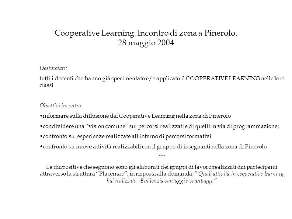 Cooperative Learning. Incontro di zona a Pinerolo. 28 maggio 2004