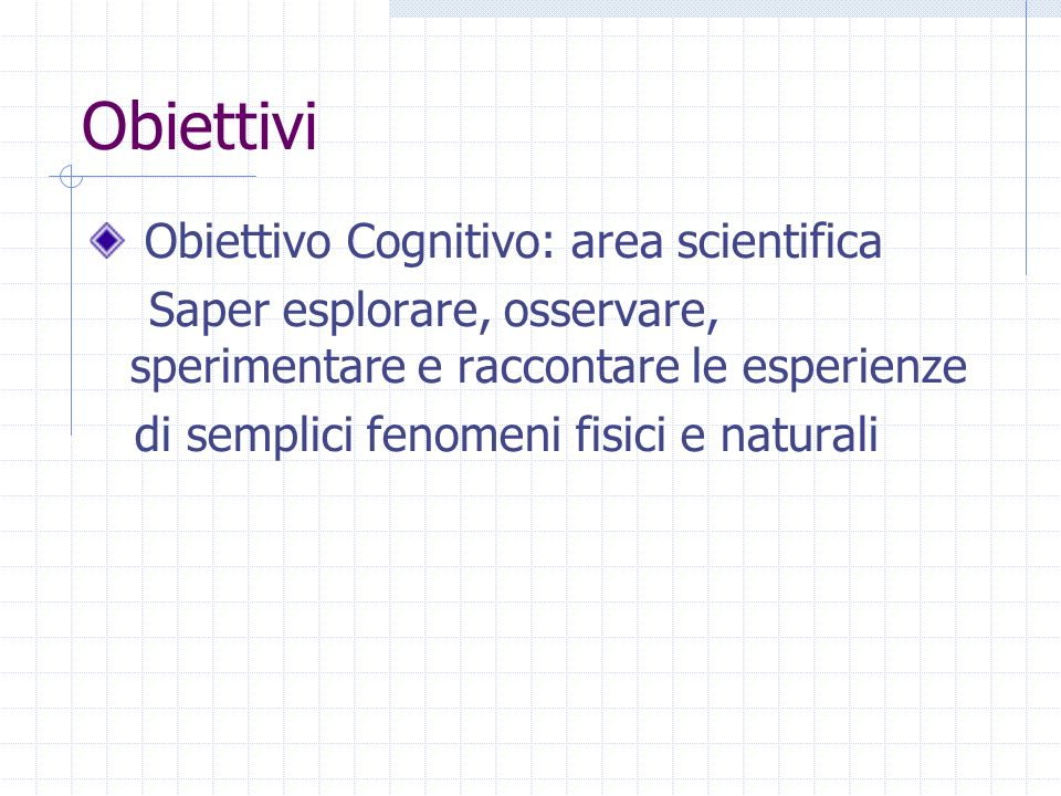 Obiettivi Obiettivo Cognitivo: area scientifica