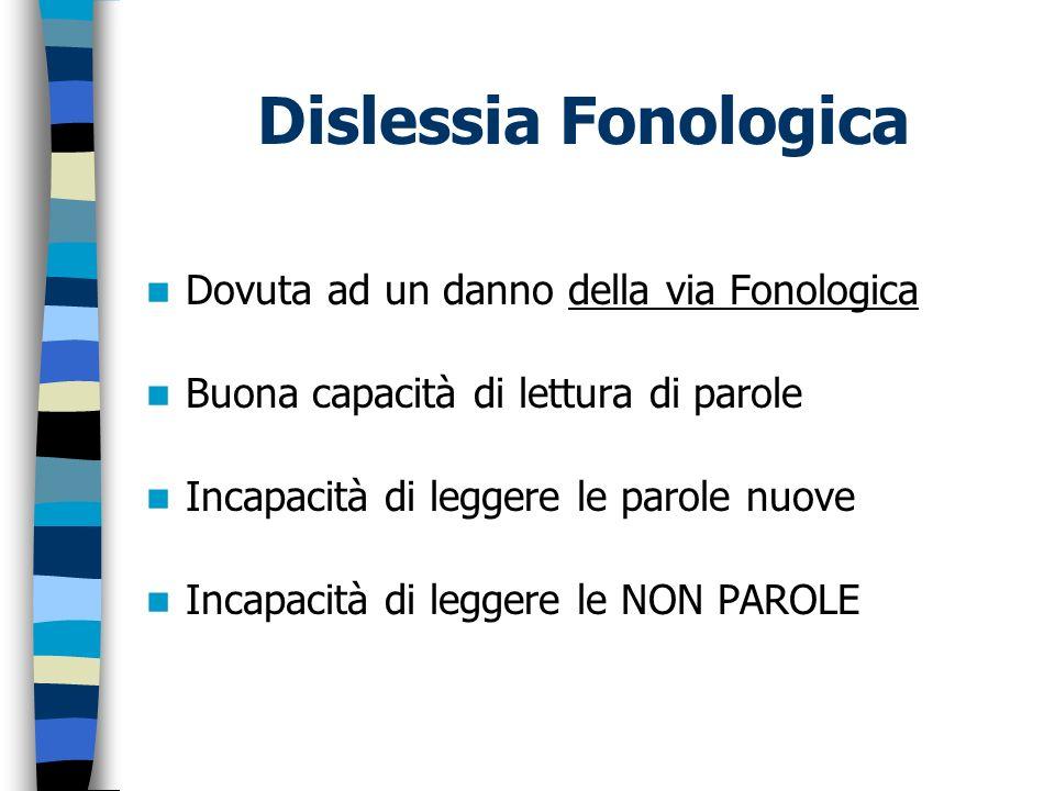 Dislessia Fonologica Dovuta ad un danno della via Fonologica